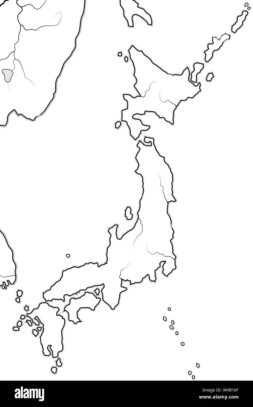 Picture of: World Map Of Japan Land Of The Rising Sun Endonym Nippon Nihon And Its Four Large Islands Honshu Hokkaido Kyushu Shikoku Geographic Chart Stock Photo Alamy