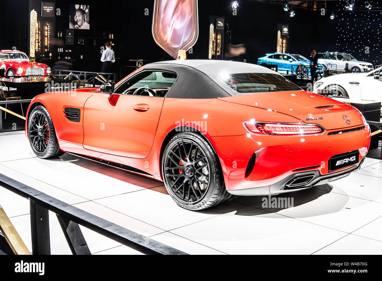 Brussels Belgium Jan 2019 Metallic Red Mercedes Amg Gt C Roadster Brussels Motor Show Dream Cars Luxury Sport Car Produced By Mercedes Benz Stock Photo Alamy