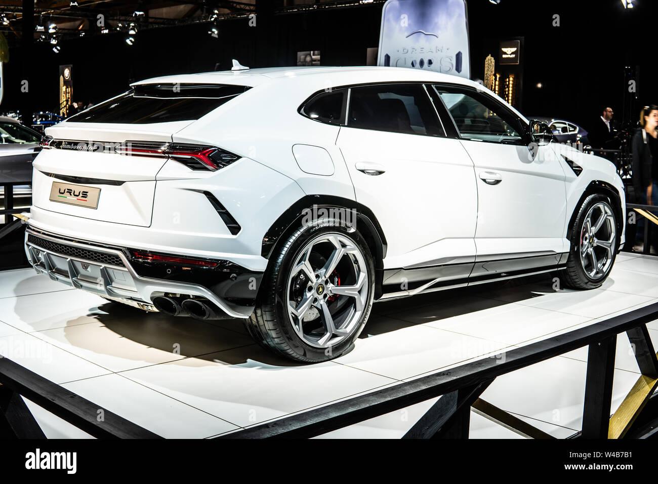 Brussels, Belgium, Jan 2019 metallic white Lamborghini Urus