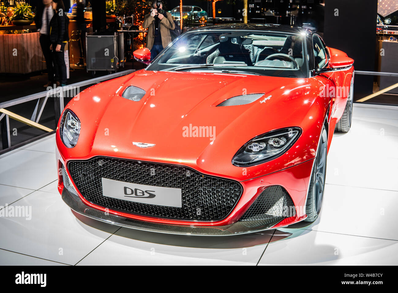 Brussels Belgium Jan 2019 Red Aston Martin Dbs Brussels Motor Show Dream Cars British Super Grand Tourer Manufactured By Aston Martin Stock Photo Alamy