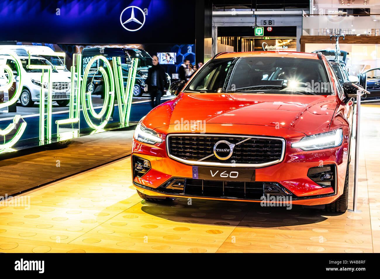 Brussels Belgium Jan 2019 Red Volvo V60 Station Wagon
