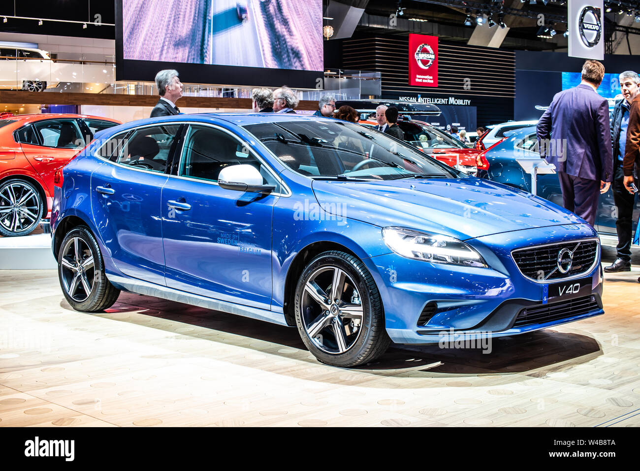 Brussels, Belgium, Jan 2019 blue Volvo V40 station wagon, Brussels Motor Show, 1st gen facelift, small family estate manufactured by Swedish Volvo Car Stock Photo