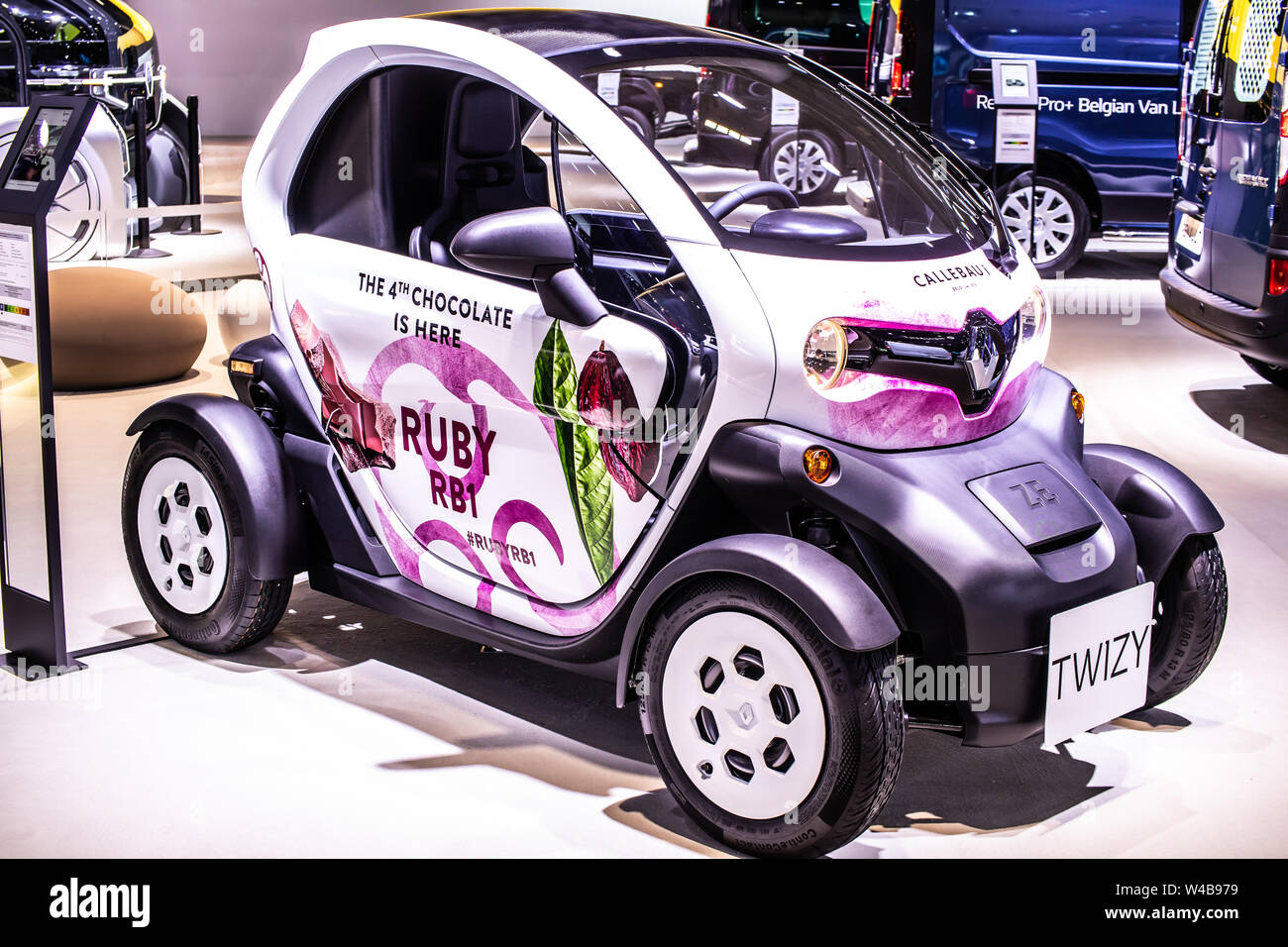 Brussels, Belgium, Jan 2019 small electric Renault Twizy, Brussels Motor Show, two-seat electric car, heavy quadricycle produced by Renault Stock Photo