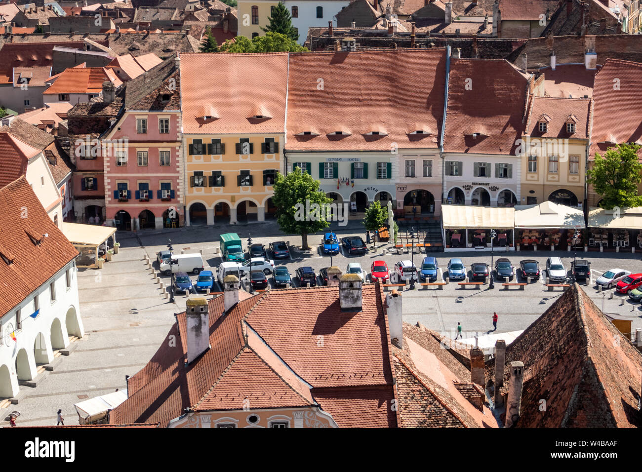 City panorama from the Lutheran Cathedral of Saint Mary in Sibiu, Transylvania, Romania Stock Photo