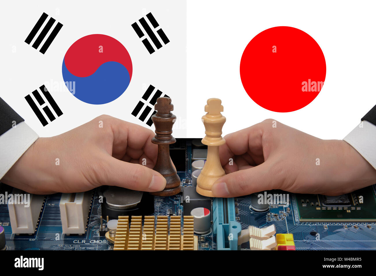 South Korea-Japan trade dispute expressed in a chess game. Stock Photo