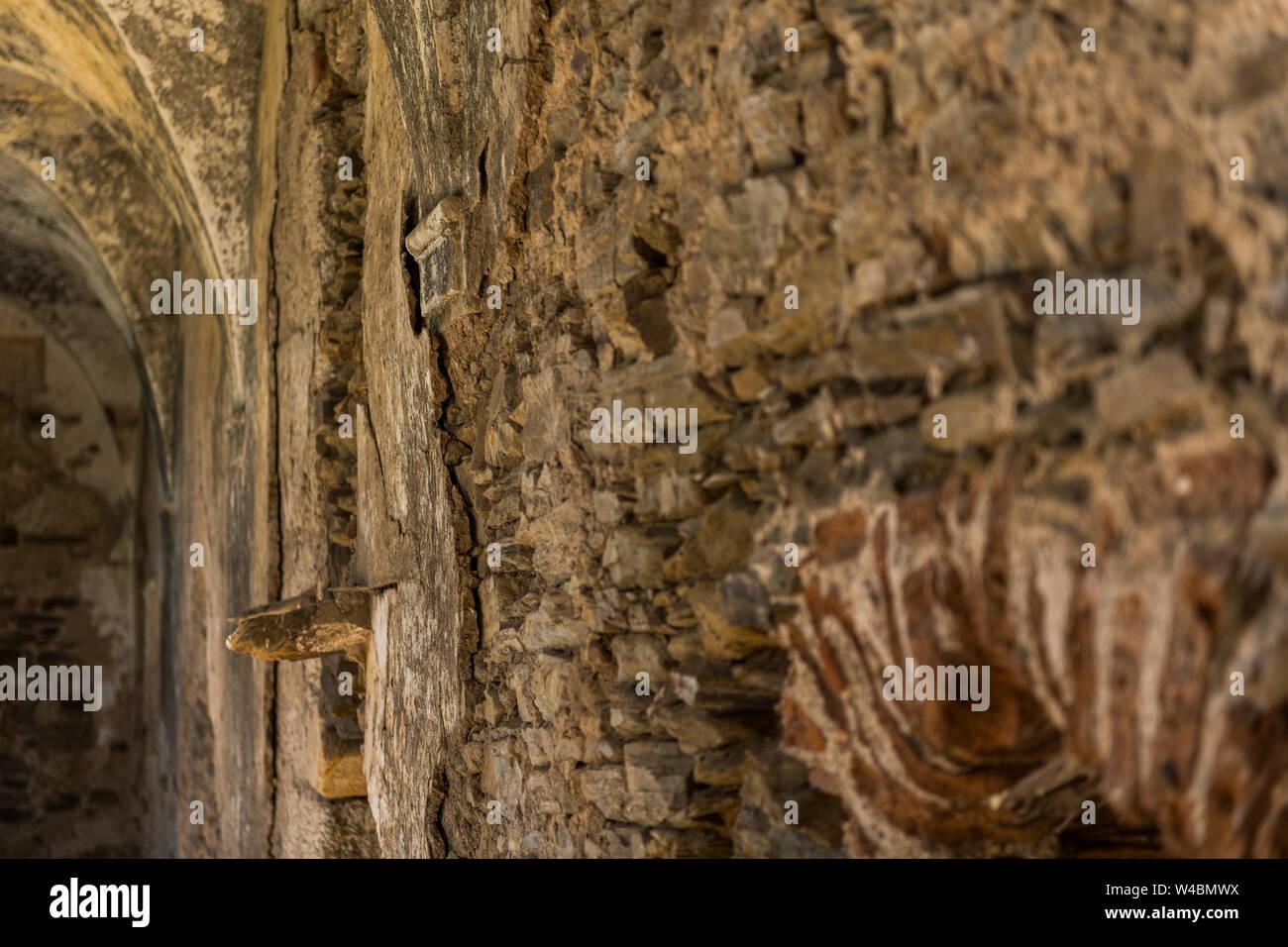 One of the walls of the cloister of the abandoned convent of San Antonio de Padua, Garrovillas de Alconetar Stock Photo