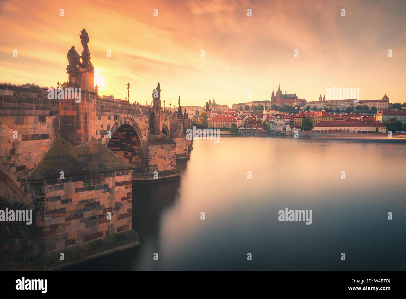 Sunset view over Charles Bridge (Karlov Most), Vltava river and Prague Castle in summer in Prague, capital of Czech Republic Stock Photo