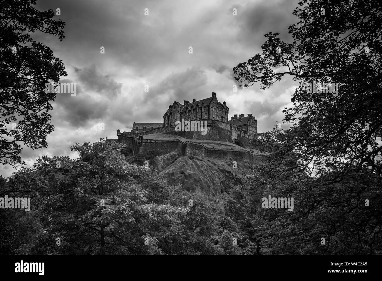 Edinburgh Castle, a historic fortress which dominates the skyline of the city of Edinburgh, Scotland from its position on the Castle Rock. Stock Photo