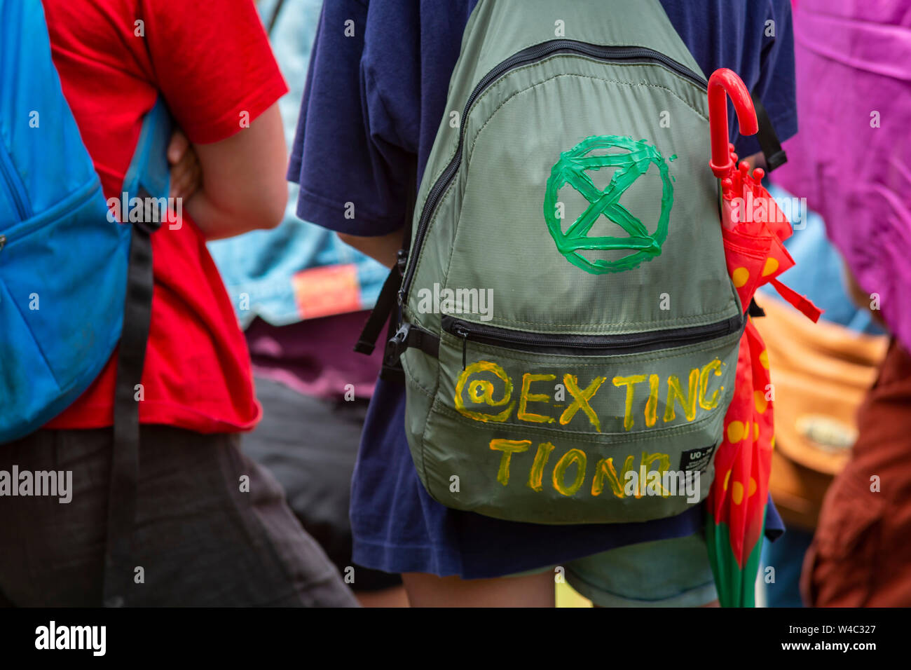 Editorial Truro, Cornwall, UK. 20/07/2019. Members of Extinction Rebellion South West paraded through Truro raising awareness about the climate crisis Stock Photo