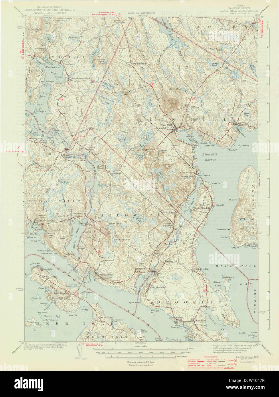 Maine Usgs Historical Map Blue Hill 306477 1944 62500 Restoration