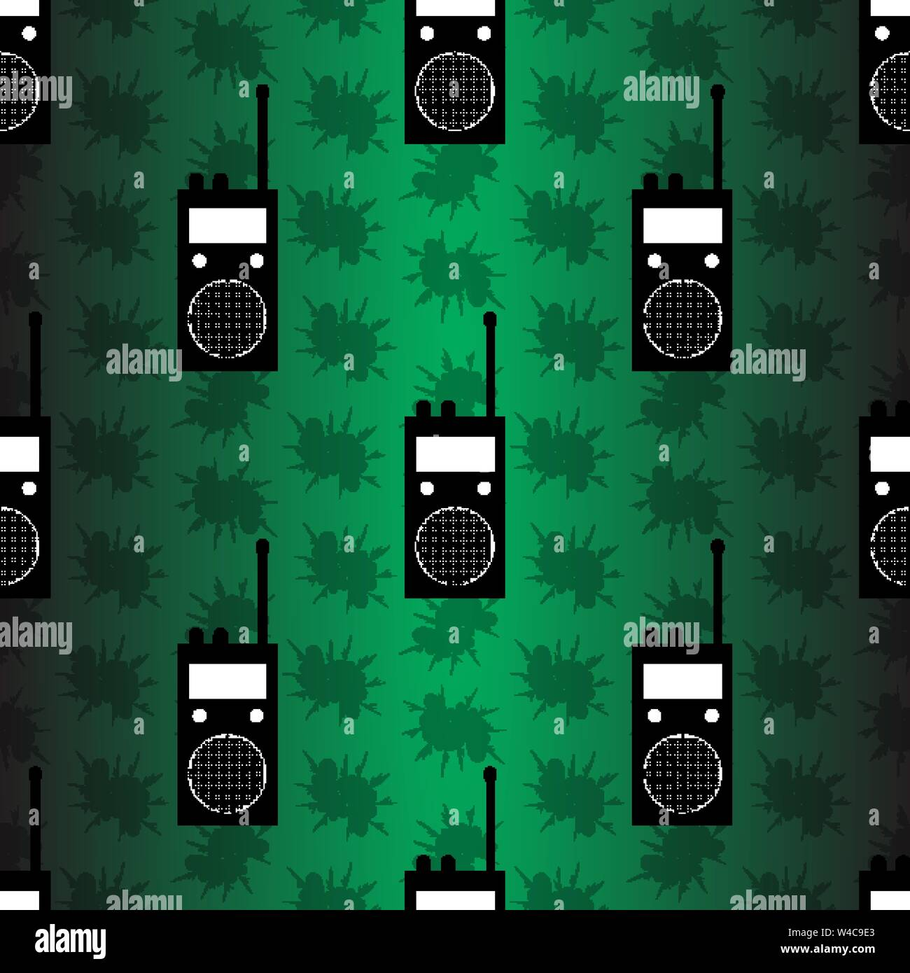 radio station on green background seamless vector pattern Stock Vector