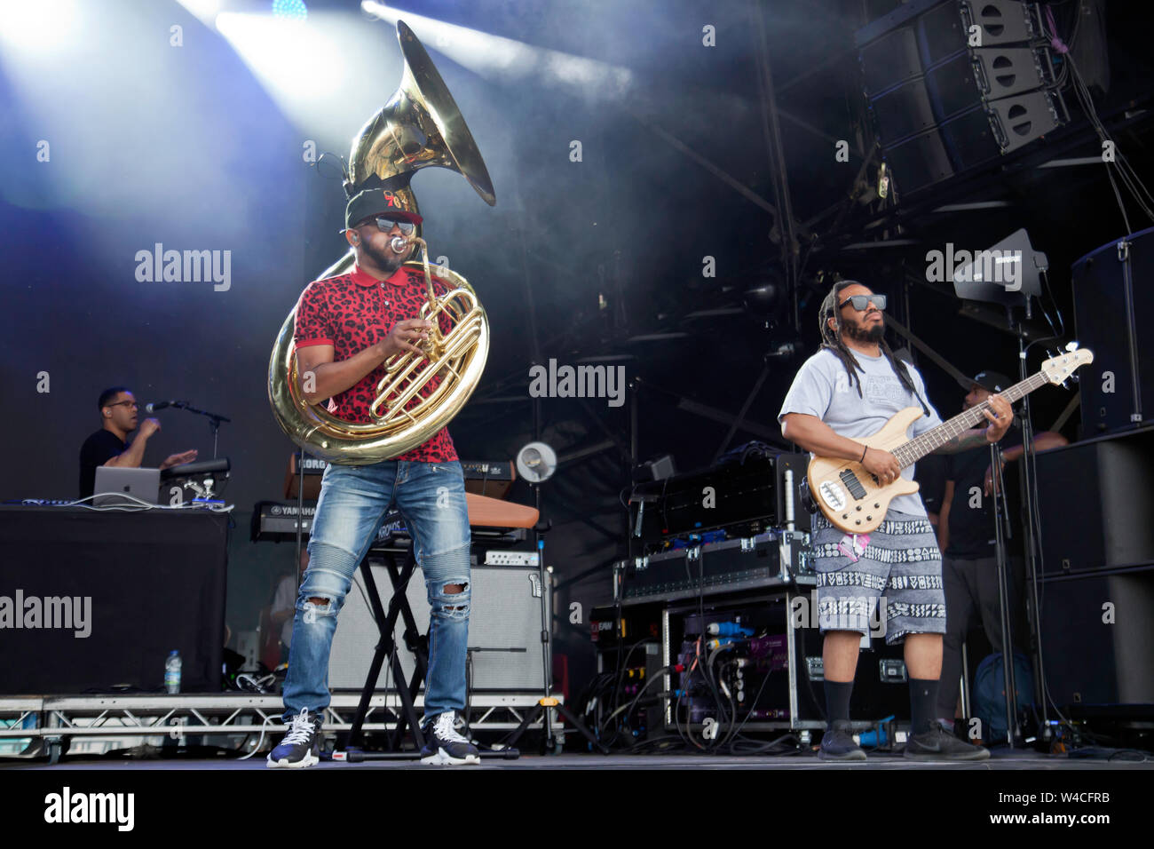 Tuba Gooding, Jr. (Damon Bryson) and Mark Kelley performing with The Roots, on the main stage at the OnBlackheath Music Festival 2019 Stock Photo
