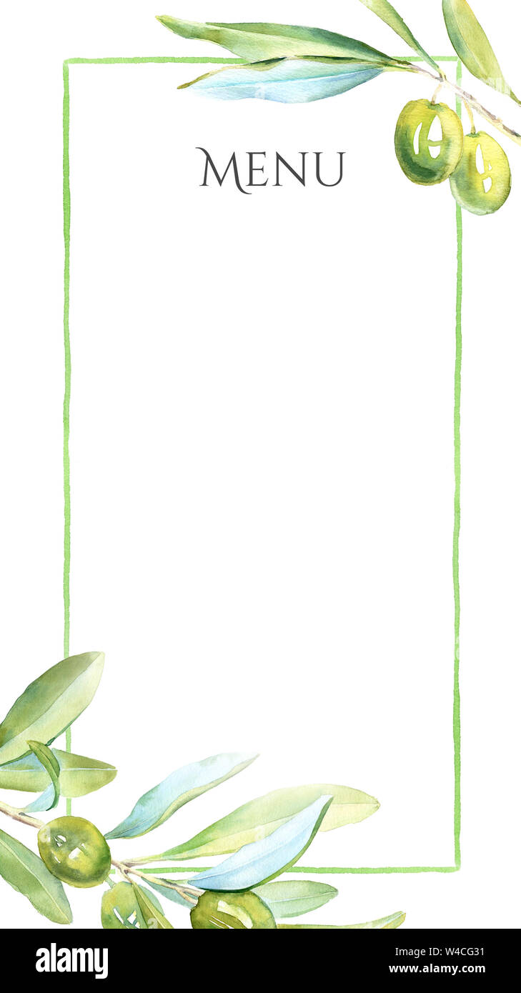 Watercolor Green Olives Menu Template Realistic Botanical