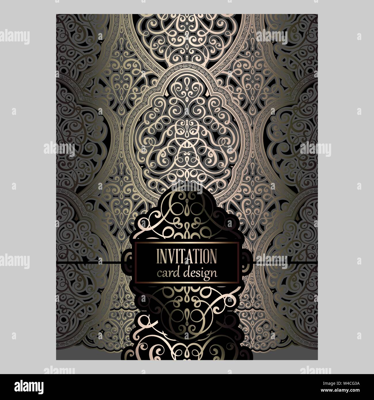 Wedding Invitation Card With Gray And Gold Gold Shiny