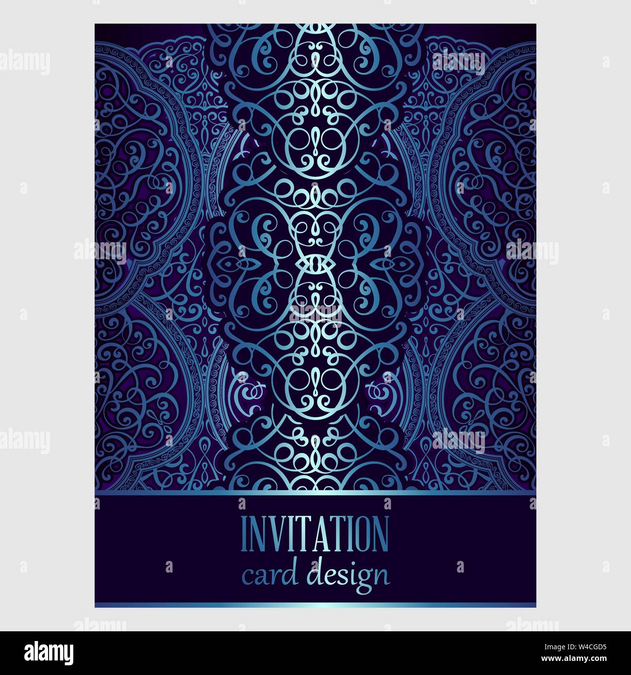 Wedding Invitation Card With Blue Shiny Eastern And Baroque