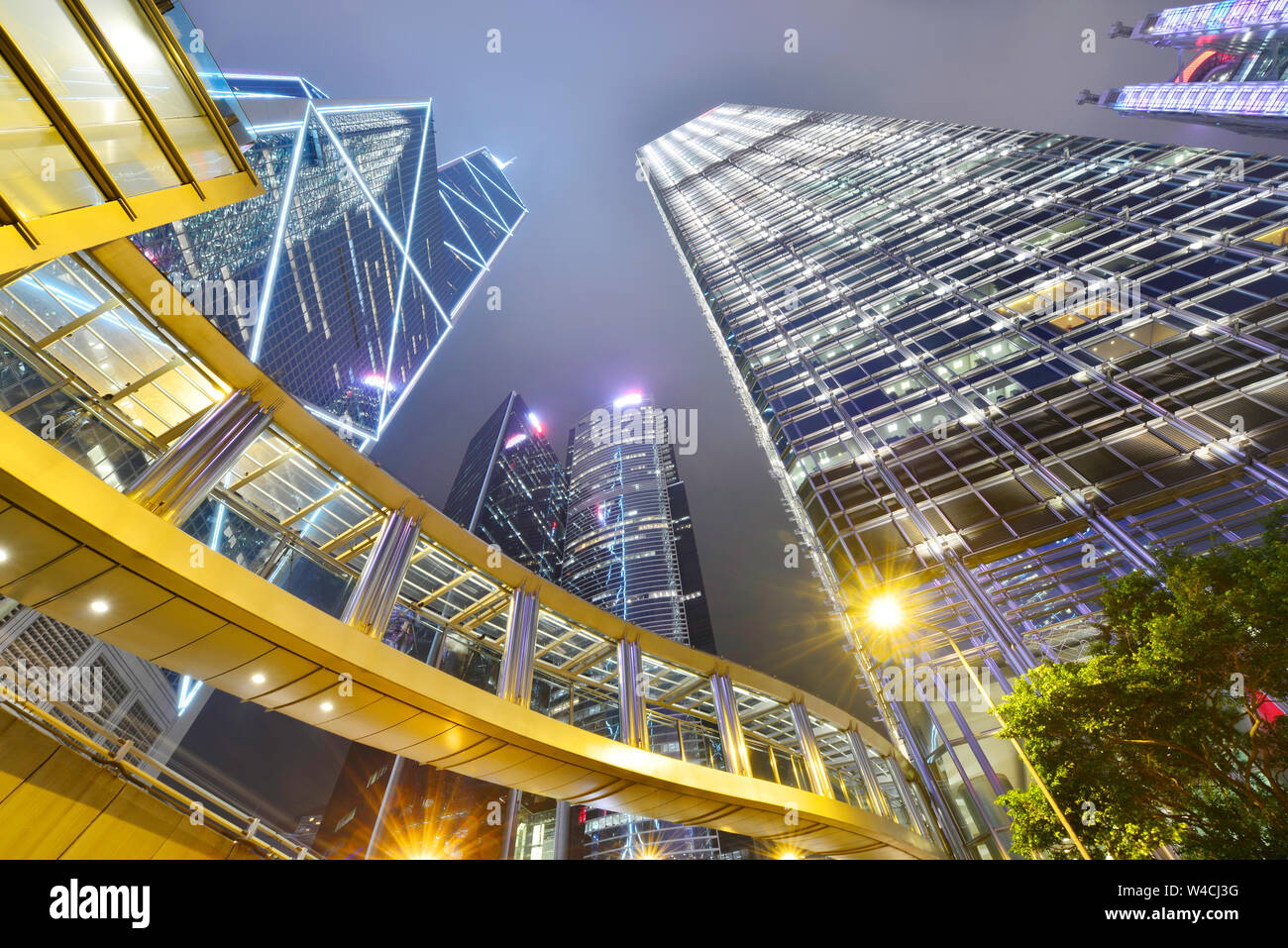 Cityscape modern office buildings in central Hong Kong at night Stock Photo