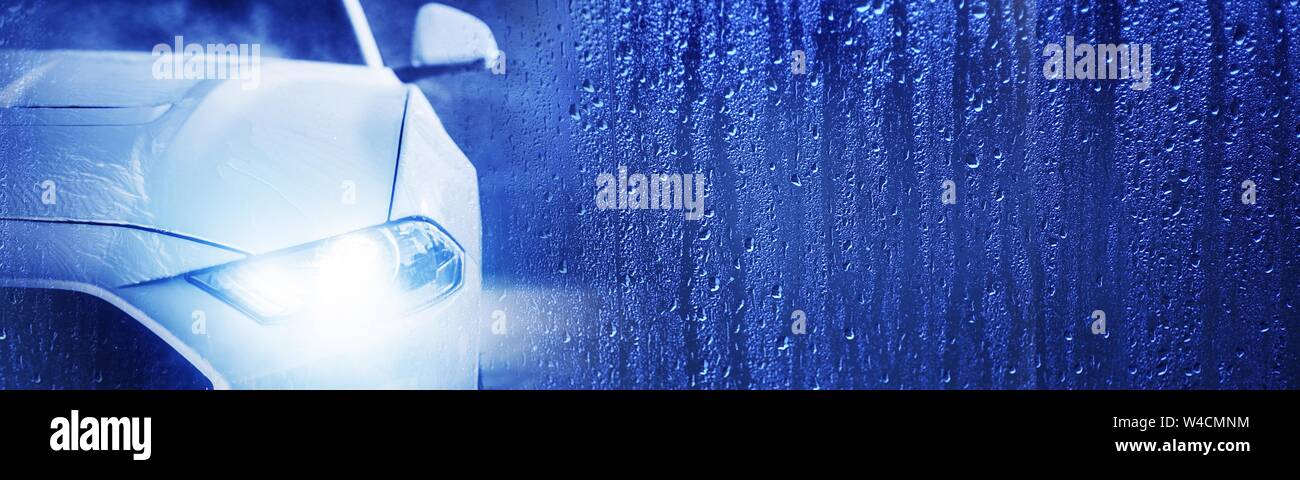 Car Wash Banner Concept With Modern Vehicle And Water Drops Background Right Side Copy Space Stock Photo Alamy
