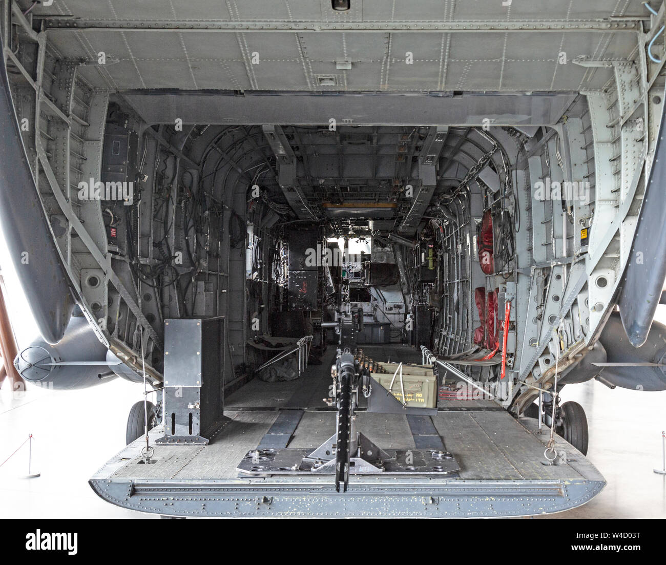 Interior view inside a Sikorsky MH-53M Pave Low IV American Military helicopter, on display at the RAF Museum at Cosford in England. serial 68-8284. Stock Photo