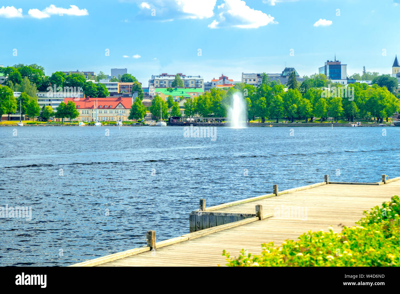 Lappeenranta, Finland - June 20, 2019: Summer landscape with fountain and boats in Lappeenranta harbor on Saimaa lake. Stock Photo