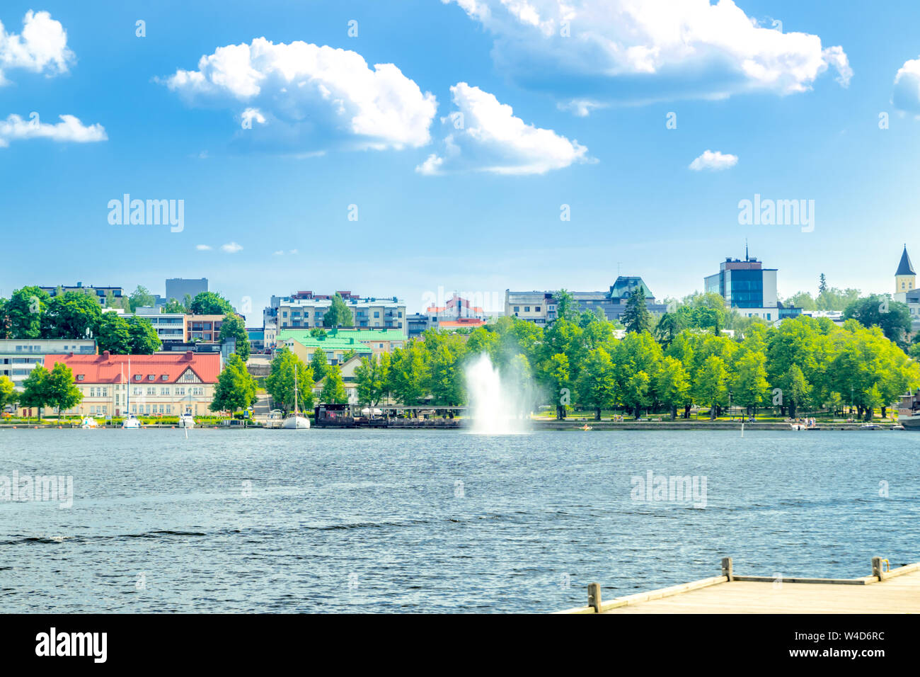 Lappeenranta, Finland - June 20, 2019: Summer landscape with fountain and boats in Lappeenranta harbor on Saimaa lake. Stock Photo