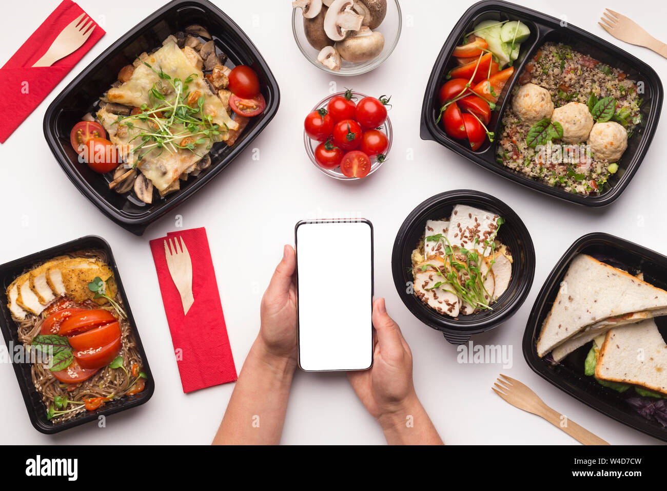 Healthy Restaurant Food Delivery In Your Cellphone Stock Photo Alamy