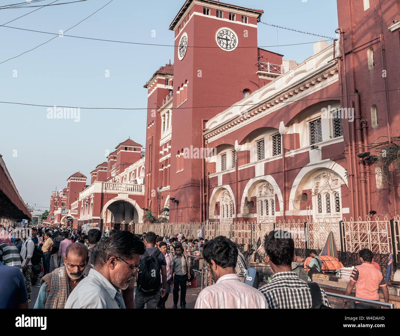 May 27,2018, Kolkata,India. The exterior of Howrah Junction, also known as Howrah Station, the largest railway complex in India . Stock Photo