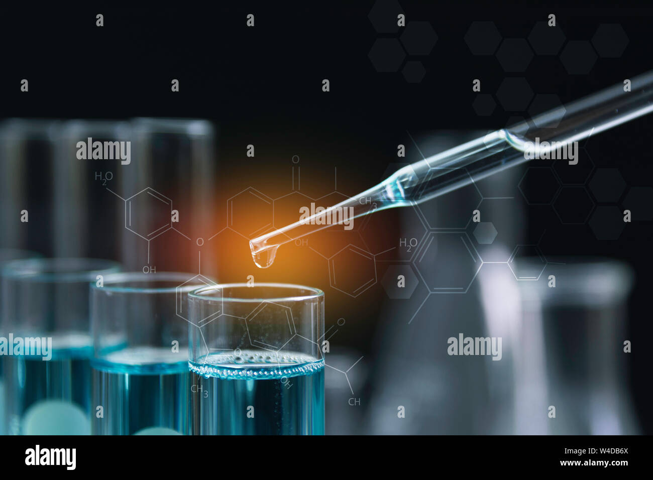 Glass laboratory chemical test tubes with liquid for analytical , medical, pharmaceutical and scientific research concept. Stock Photo