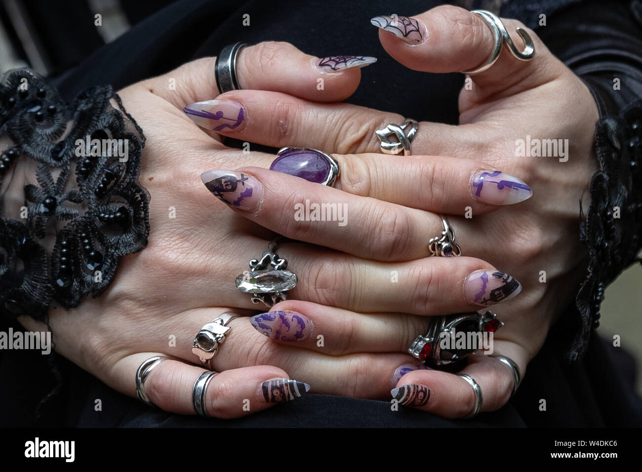 London, UK. 21st July 2019. Members of London Vampire Society and other goths attend the annual Brompton Cemetery Open Day. Credit: Guy Corbishley/Alamy Live News Stock Photo
