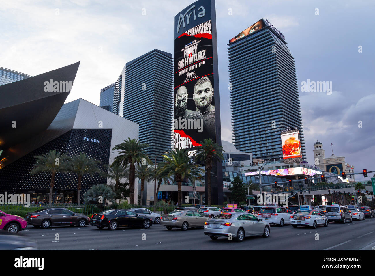 Las Vegas Strip, casino and hotels city view with modern architecture and luxury stores Stock Photo