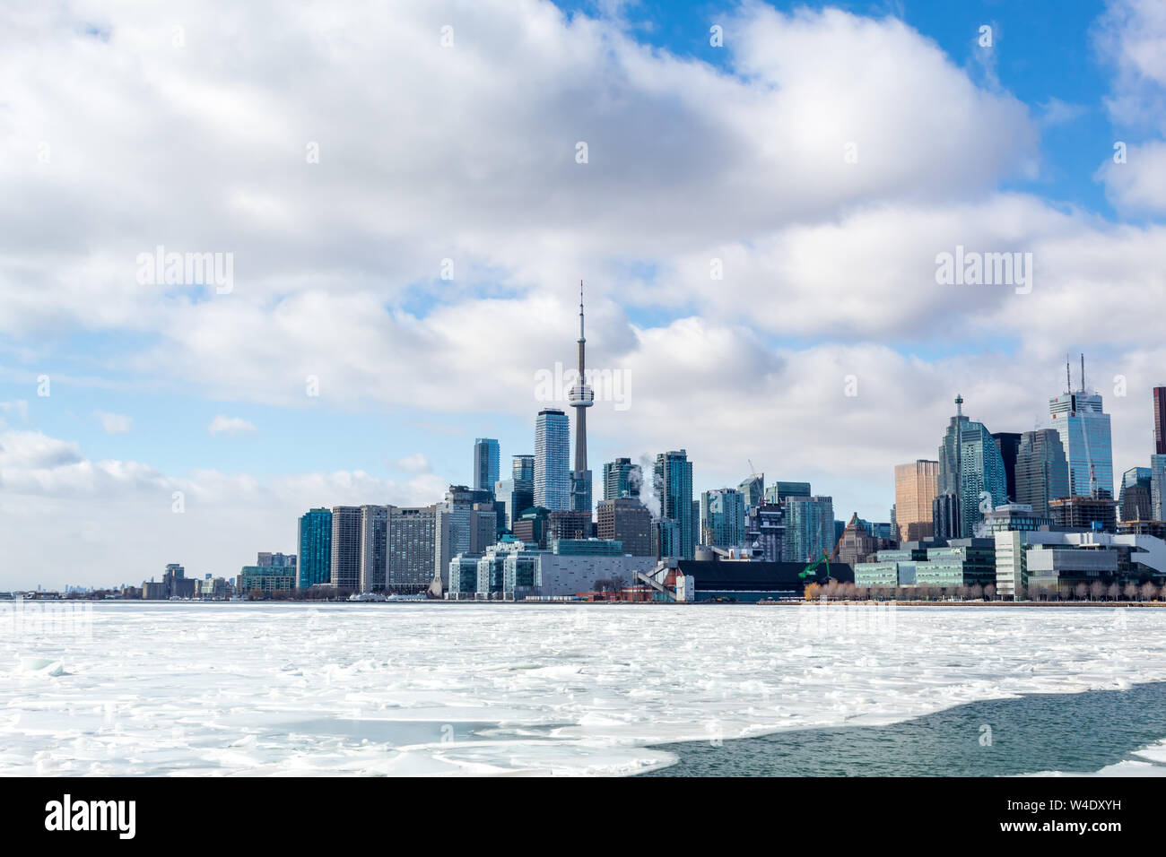 Toronto city skyline with an icy Lake Ontario in-front. Stock Photo