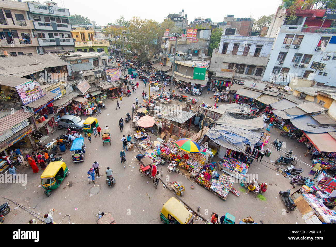 NEW DELHI - FEB 23: Panoramic view of Main Bazar district in New Delhi on February 23. 3018 in India Stock Photo