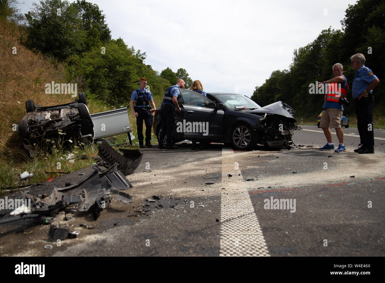 Mertesdorf, Germany  22nd July, 2019  Police officers are