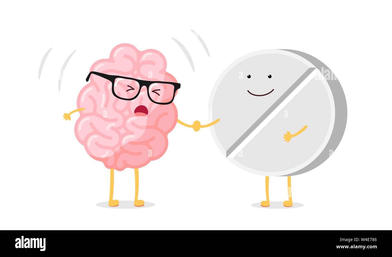 Cute Cartoon Ill Human Brain With Headache And Medicine Pill Sick Central Nervous System Organ Flat Vector Cartoon Pain Character Illustration Stock Vector Image Art Alamy