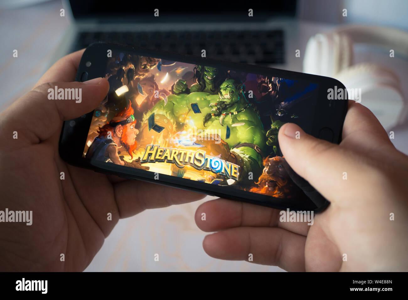 Nizhyn, Ukraine/July-16-2019: Hands holding smartphone and