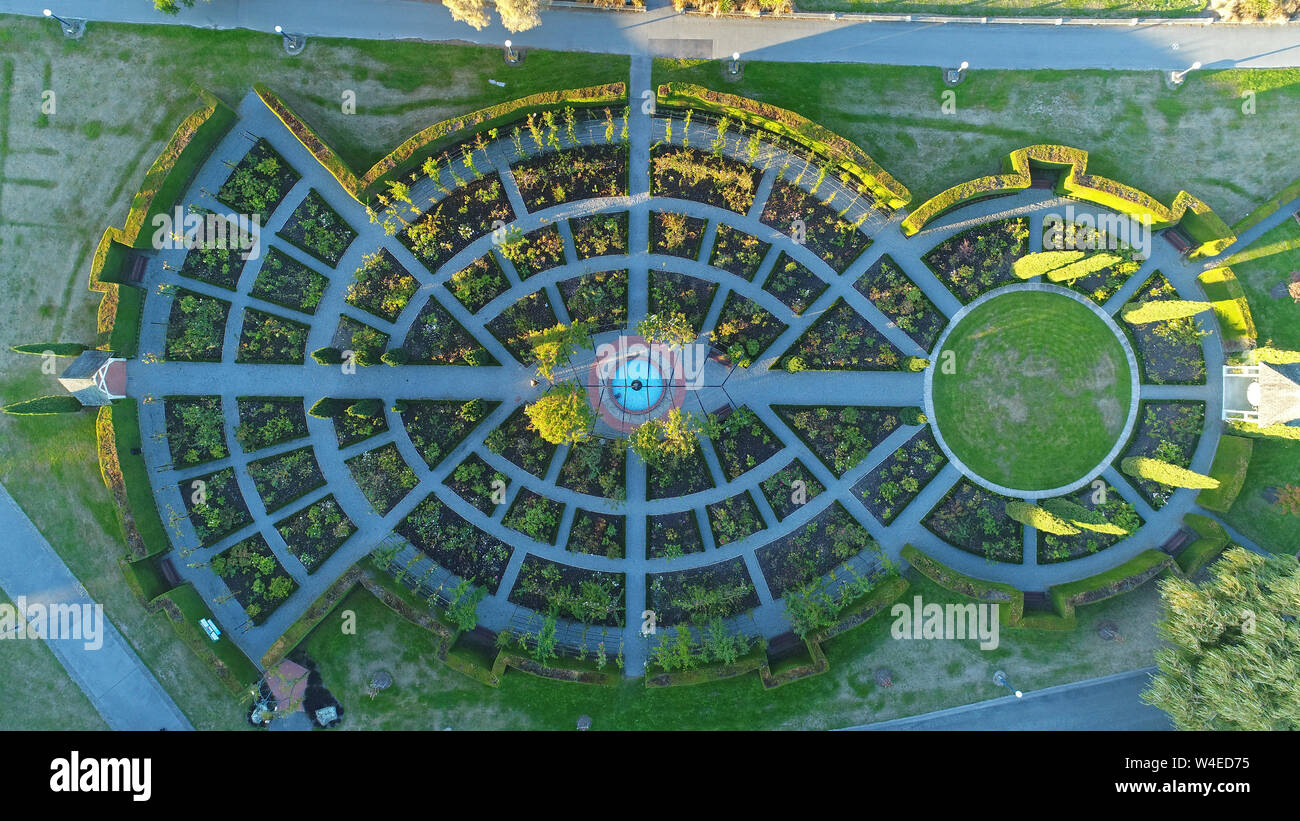 Trevor Griffiths Rose Garden, Caroline Bay Park, Timaru, South Canterbury, South Island, New Zealand - drone aerial Stock Photo