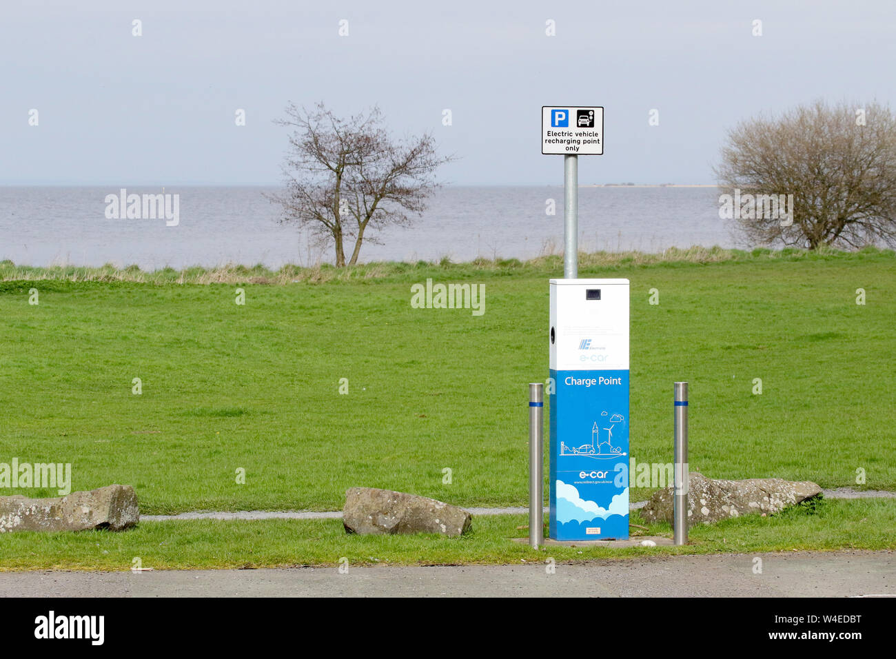 Blue and white charge point for vehicles  The Northern