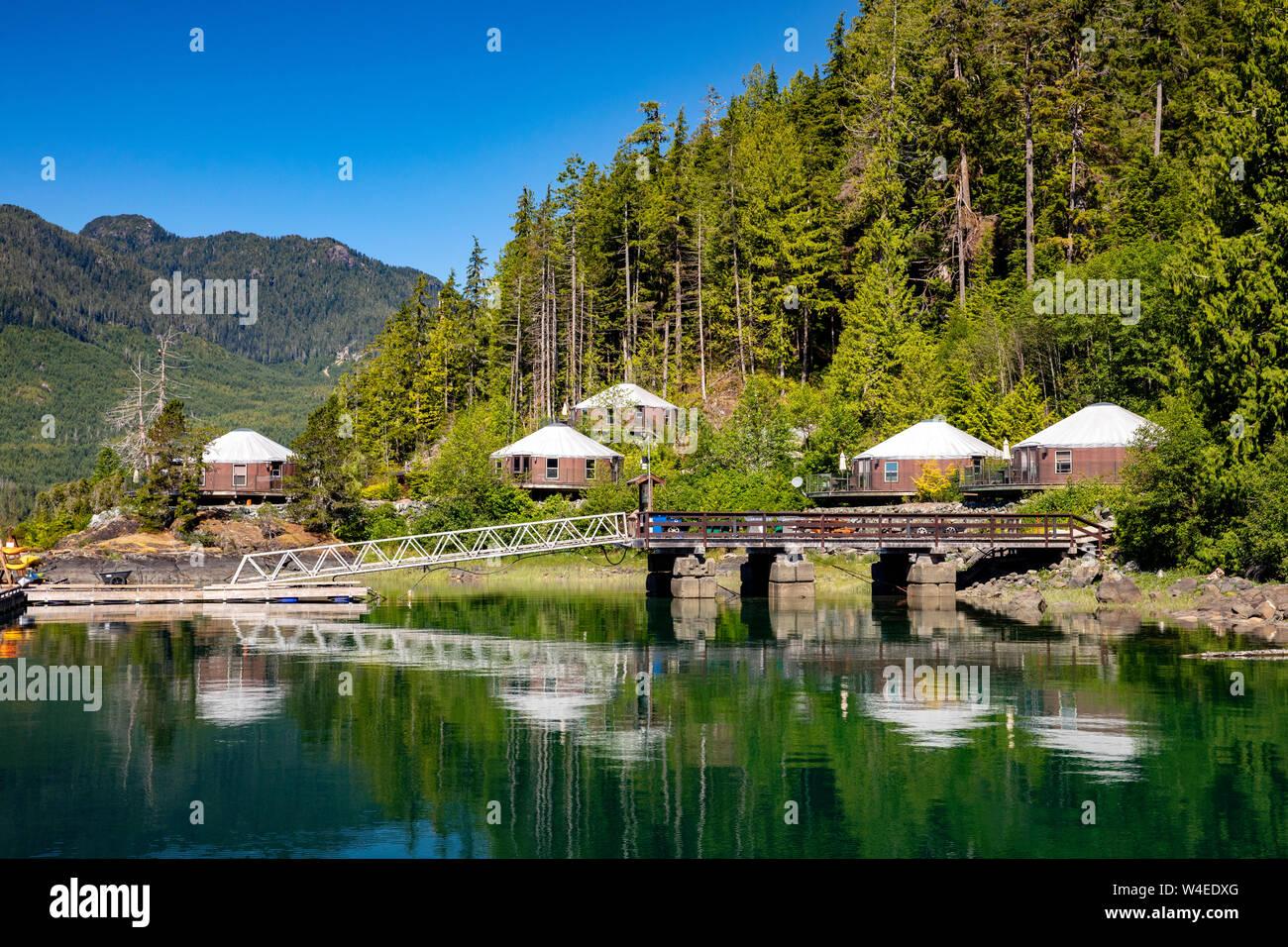 Yurts at Moutcha Bay Resort and Marina - Tahsis, Vancouver Island, British Columbia, Canada Stock Photo