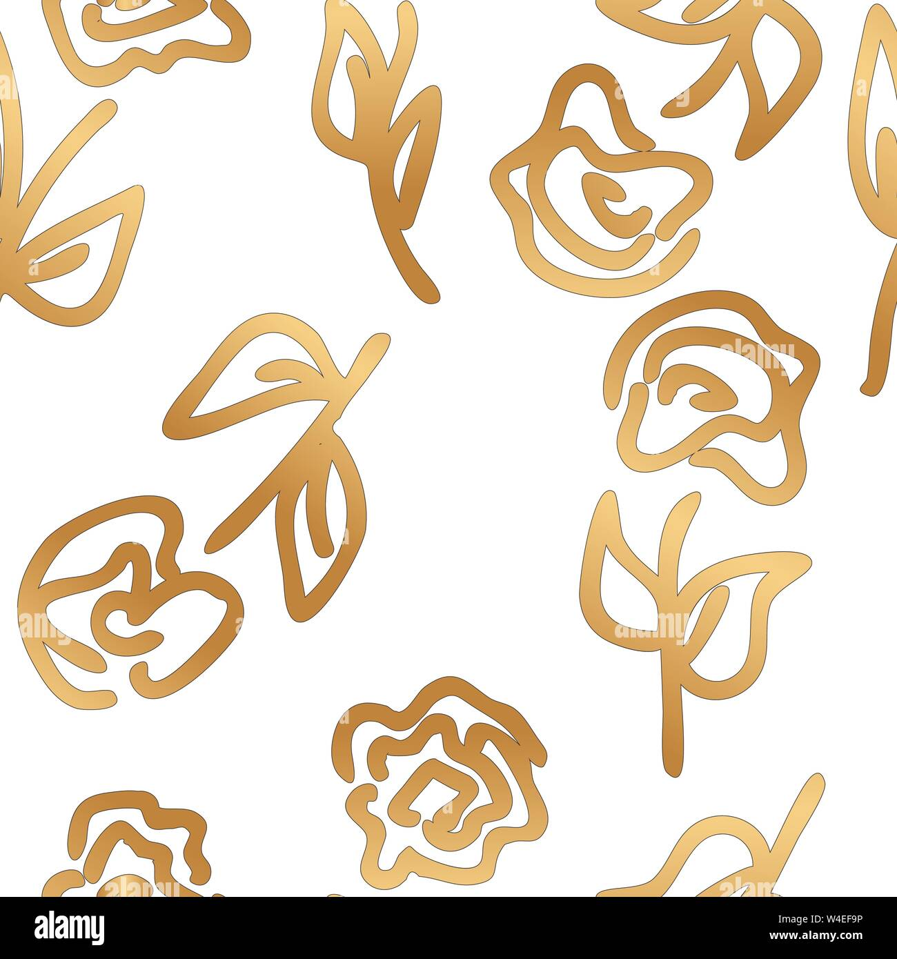 Gold Abstract Roses On White Vector Seamless Pattern