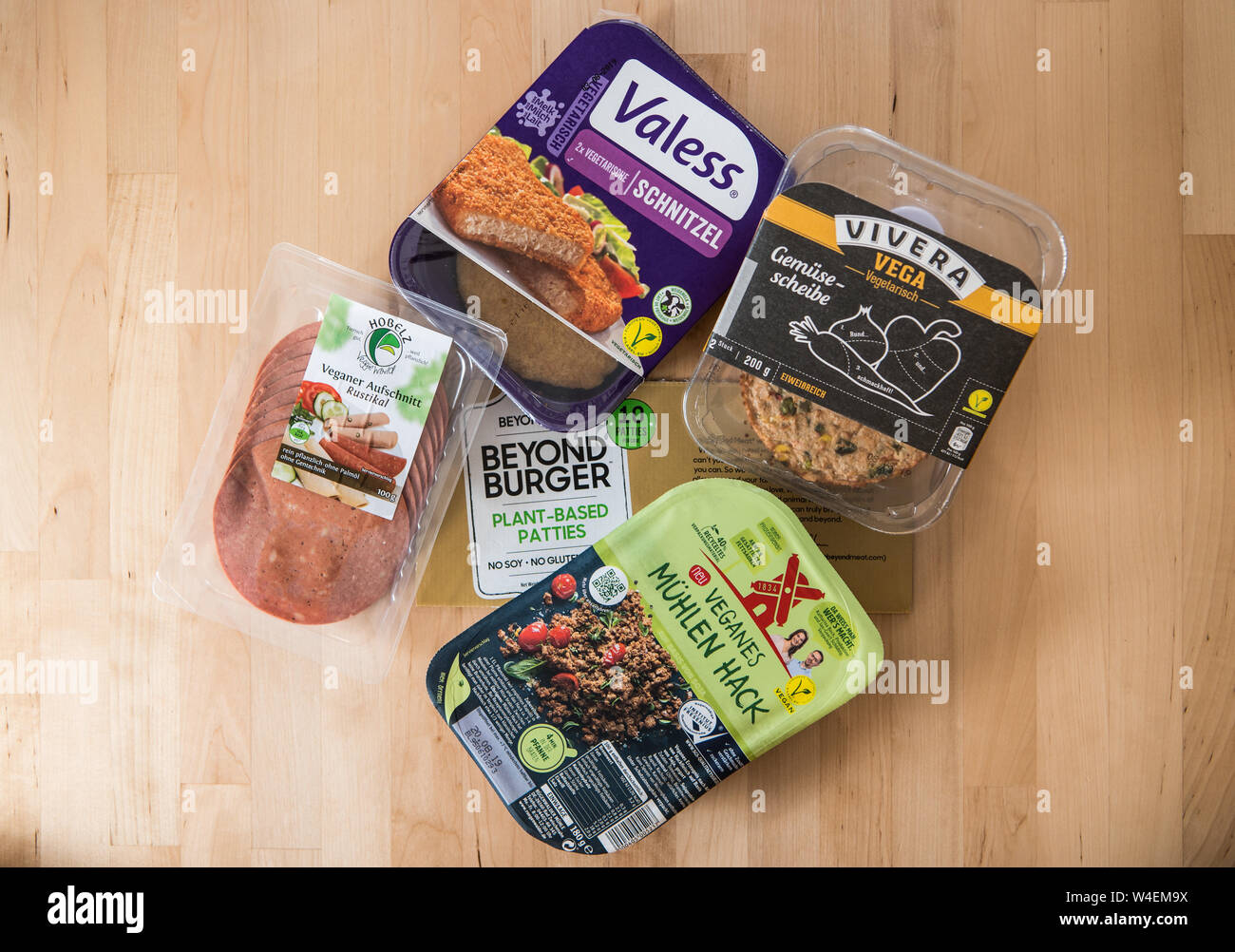 22 July 2019 Hessen Frankfurt Main Various Vegan And Vegetarian Meat Substitutes Are Packaged On The Table More And More Meat Replacement Products Are Coming Onto The German Market The Substitute Products Include
