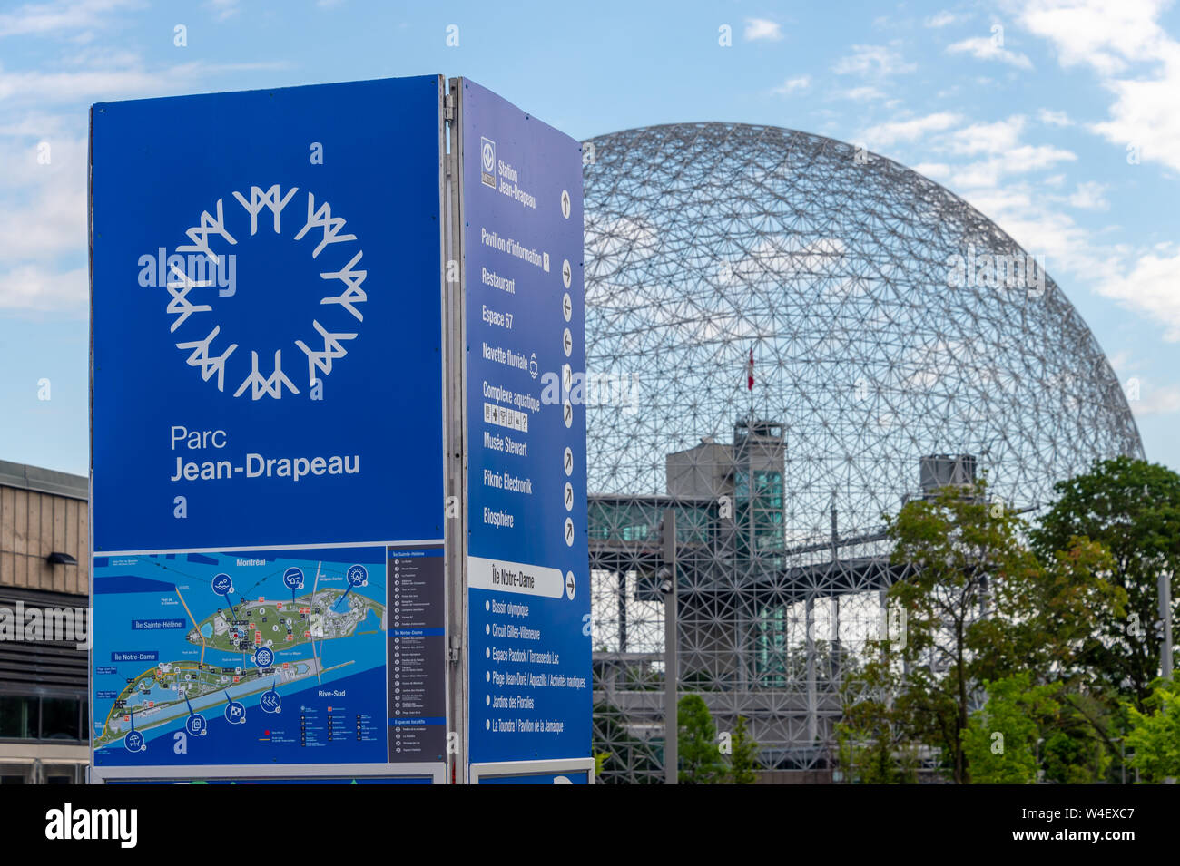 Montreal, Canada - 21 July 2019: Biosphere and Parc Jean Drapeau sign and map Stock Photo