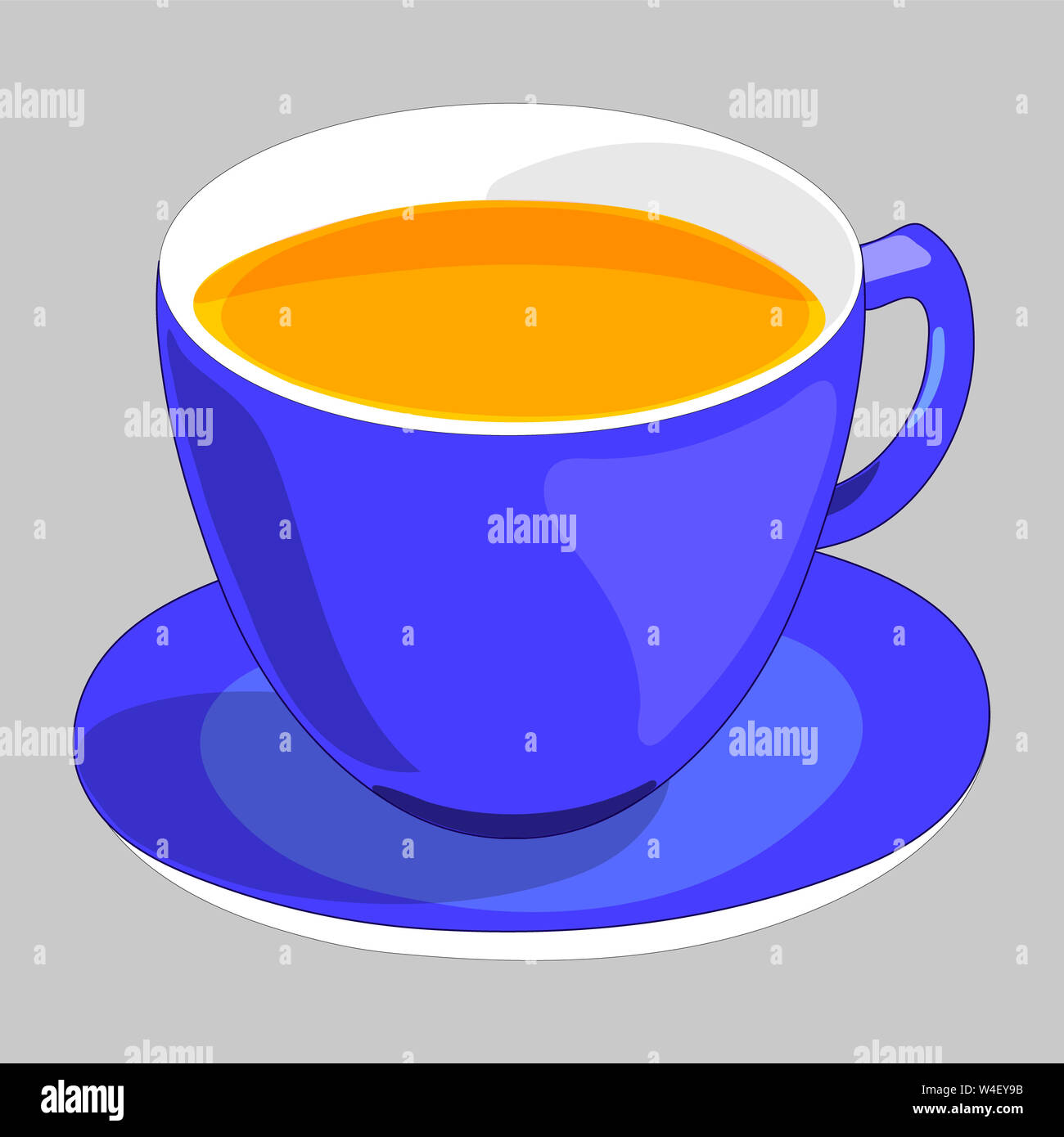 Flat Drawing Of A Cup And Saucer The Blue Mug Is Filled With Tea Tea Party Isolated Grey Illustration Stock Photo Alamy