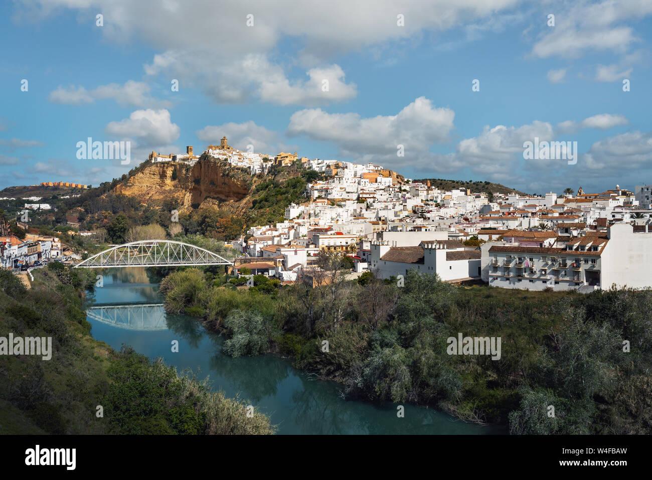 Arcos de la Frontera and Guadalete River -  Cadiz Province, Andalusia, Spain Stock Photo