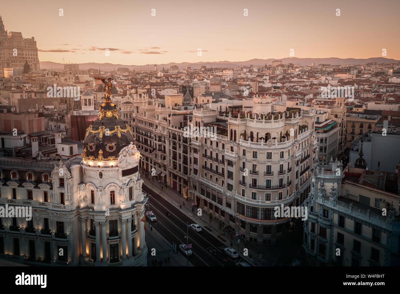Aerial view of Gran Via Street - Madrid, Spain Stock Photo