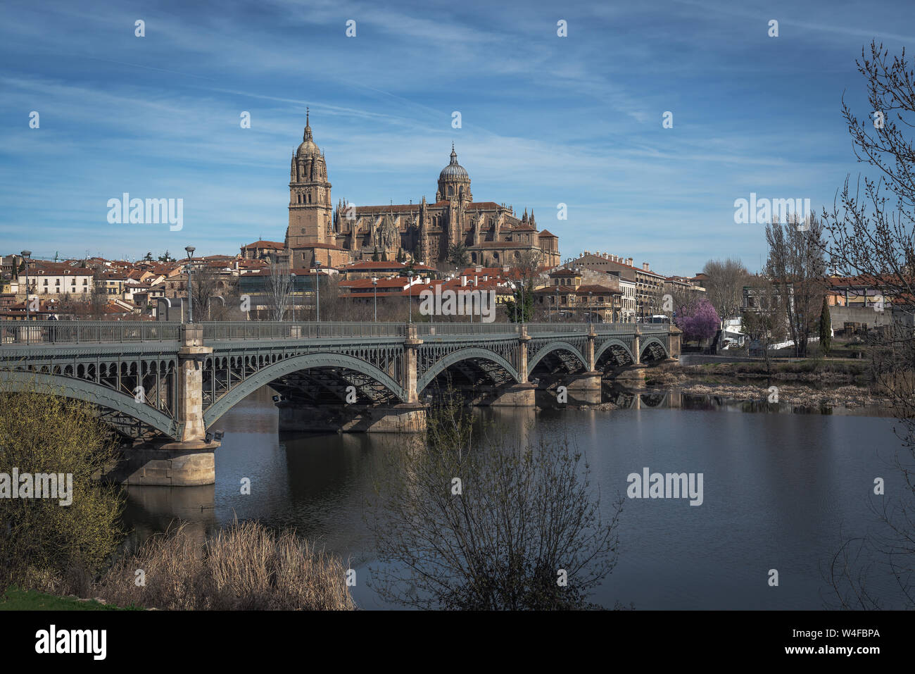 Salamanca Skyline view with Cathedral and Enrique Estevan Bridge from Tormes River - Salamanca, Castile and Leon, Spain Stock Photo