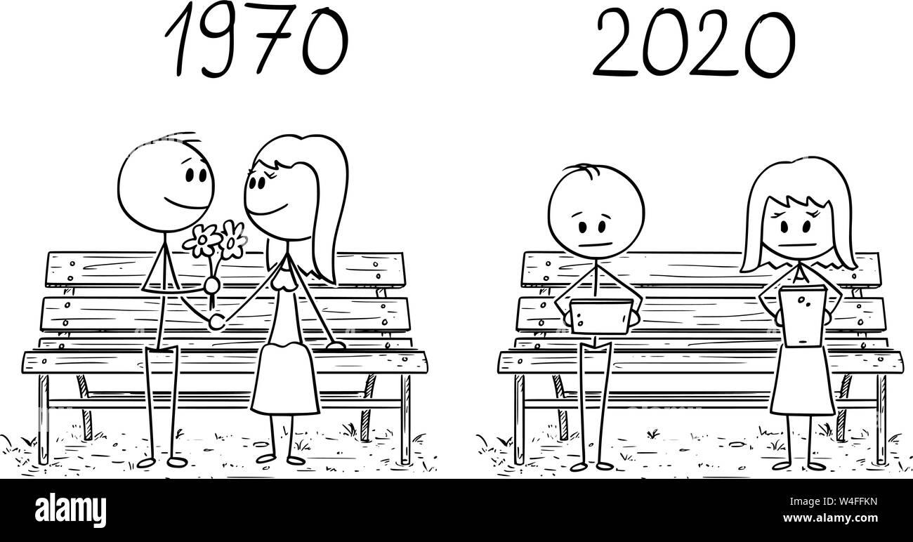 Cartoon Stick Drawing Conceptual Illustration Of Romantic Loving