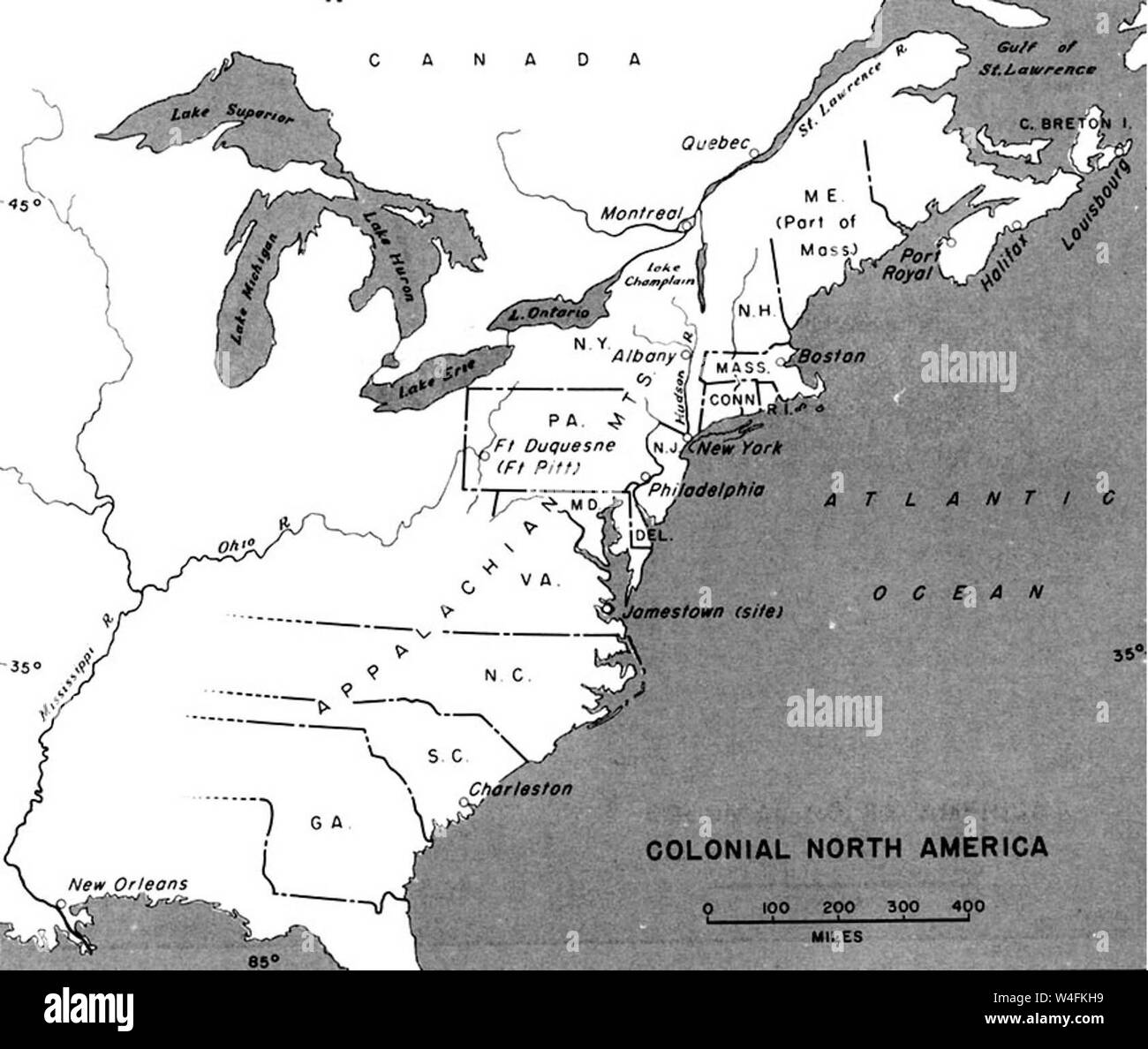 Colonial Map Of North America Stock Photo Alamy