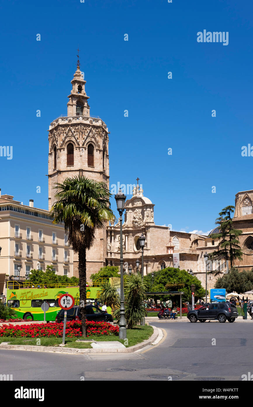 Exterior view of La Catedral and its bell tower, Valencias cathedral in Plaza de la Renia, Valencia, Spain. Stock Photo