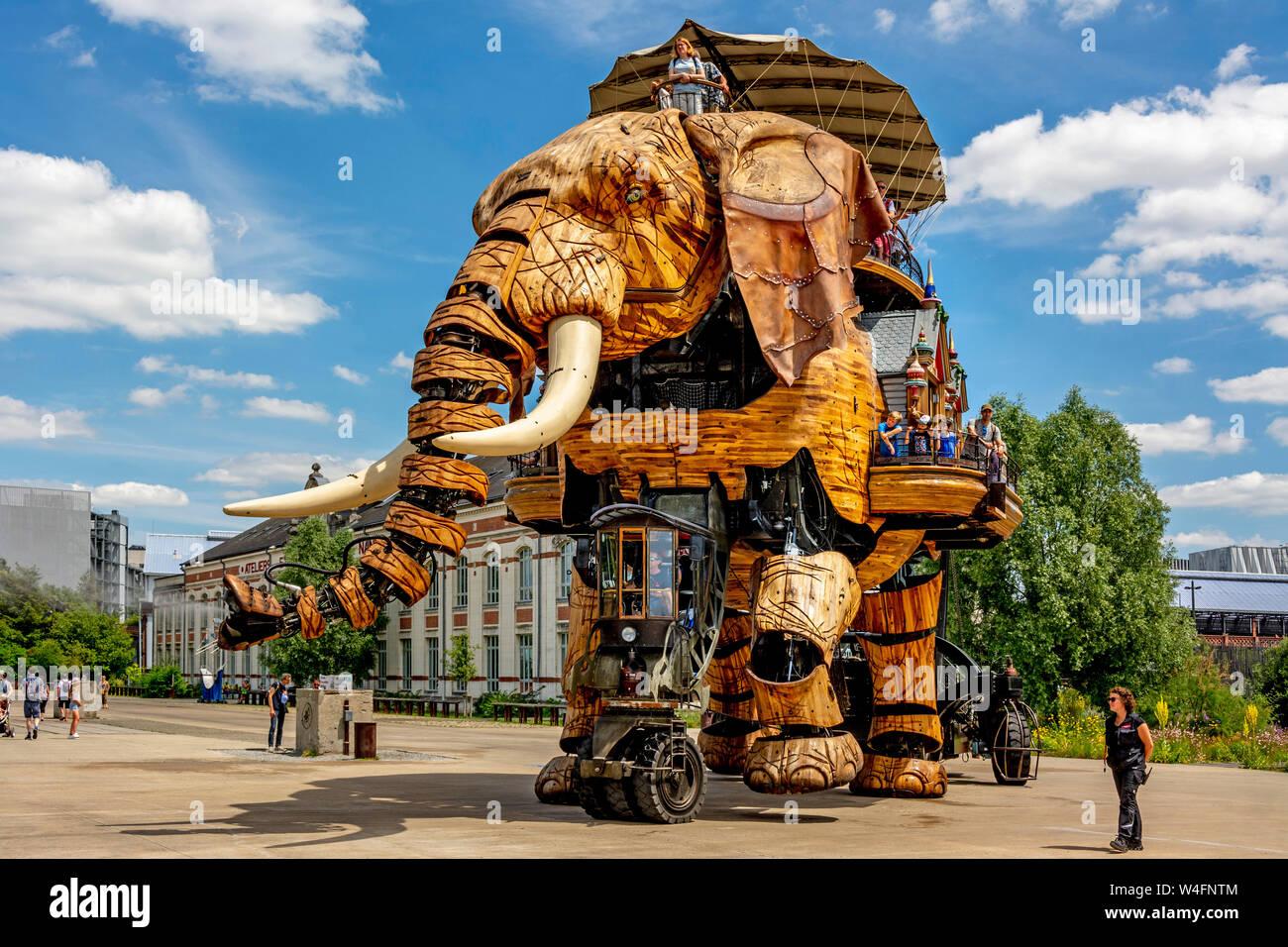 Nantes, the Great Elephant at Les Machines de l'île, created by François Delarozière and Pierre Orefice, ile de Nantes, Loire atlantique . France Stock Photo
