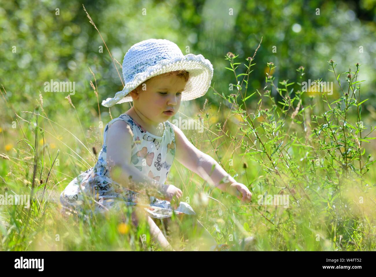 Gower, Wales, UK. 23rd July 2019. UK Weather: Pictured is toddler Lillian Joy, enjoying the scorching sunshine in a summer dress and hat, on the Gower Peninsular in South Wales, as temperatures soar across the UK at the start on the Summer school holidays, on the hottest day of the year to date. Credit : Robert Melen/Alamy Live News Stock Photo