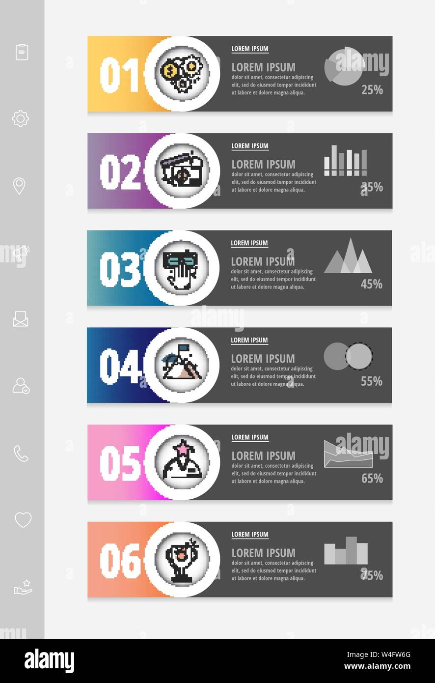 Vector infographic flat template circles for six label, diagram, graph, presentation. Business concept with 6 options. For content, flowchart Stock Vector